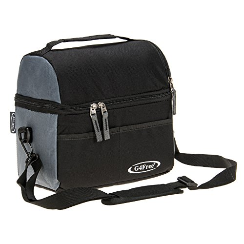 G4Free 8 Can Cooler Bag Dual Insulated Compartment Lunch Bag High Density Insulation with Strong Leakproof Liners, Many Pockets, Strong Zipper & Stitching(Black)