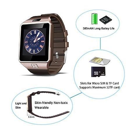 SinoPro DZ09 Smart reloj Bluetooth reloj teléfono con cámara de tarjeta SIM y TF tarjeta de información de ranura Función sincronizada para iPhone, Samsung, ...