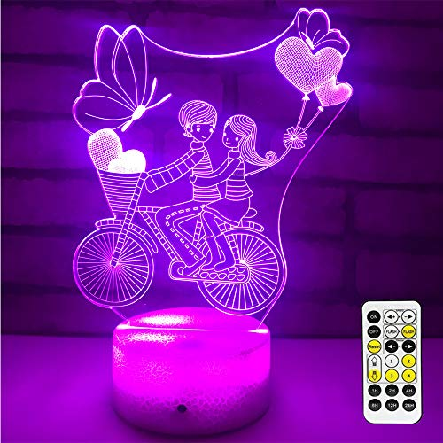 Night Light 16 Colors Changing 3D Optical Illusion Bedside Lamps with Remote Best Gift Idea for Kids Room Décor or Birthday Gifts for Girls Women -