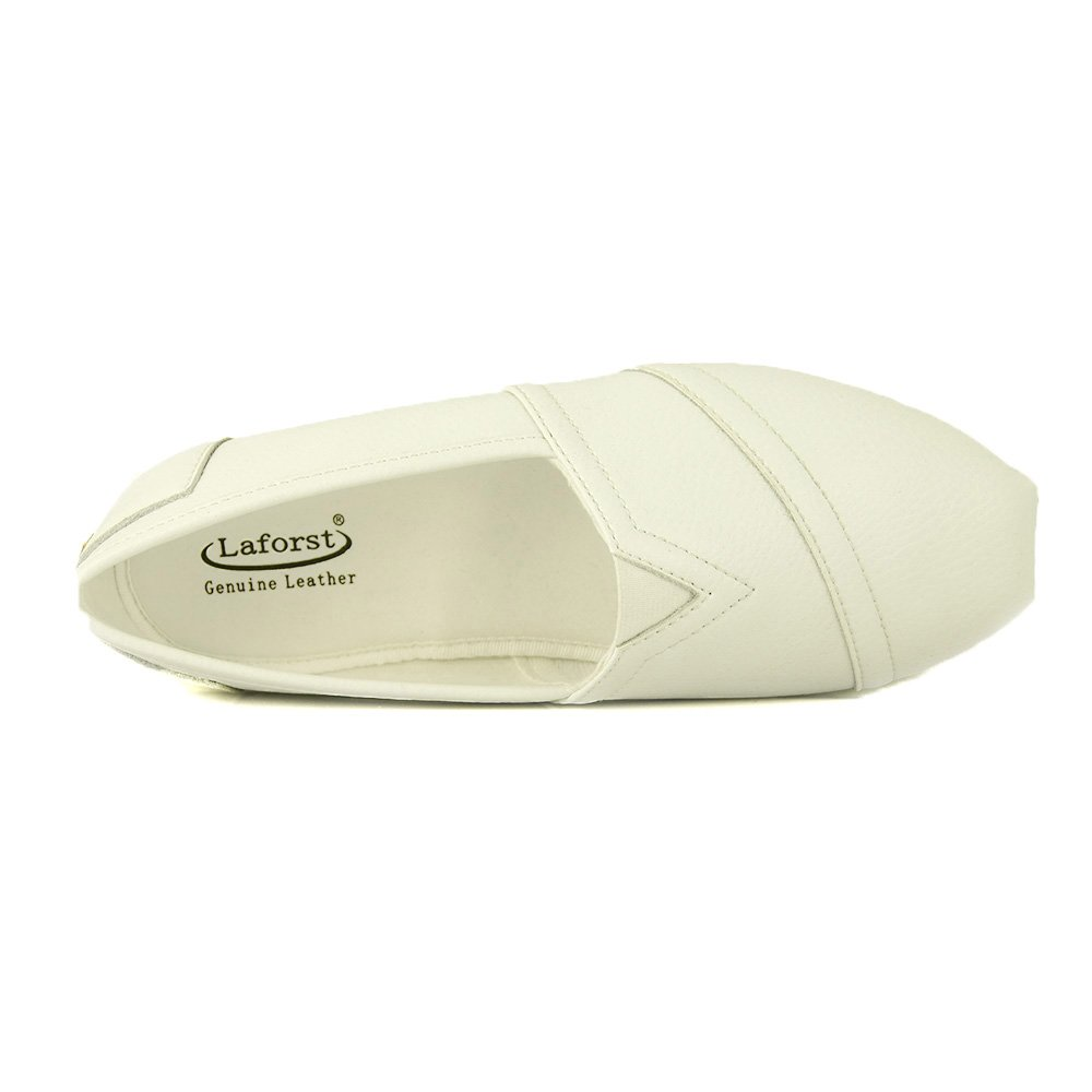 Laforst Jess Womens Leather Slip Resistant Server Waitress Nurse Slip On Flat White 7.5