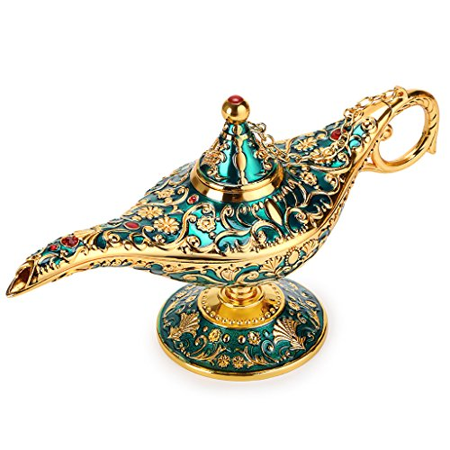 Hipiwe Vintage Magical Legend Aladdin's Genie Lamp for Home/Wedding Table Decoration,Collectable Rare Classic Arabian Costume Props Lamp Pot &Gift for Party/Halloween/Birthday(Green)]()