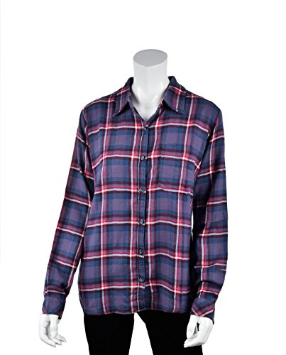 Dickies Women's Long-Sleeve Plaid Flannel Shirt, Blue Violet/White Queen, Large ()
