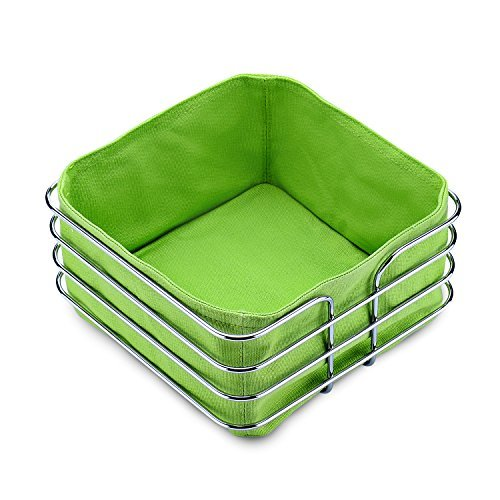 Stainless Steel Bread Basket, Fortune Candy 8 inch Square Food Serving Basket Bread Storage with 2Piece Canvas Bag, Green & Black (Basket Bread 8')