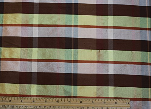 Gold Peach Brown Shantung Dupioni Plaids, 100% Silk Fabric, By The Yard, 54