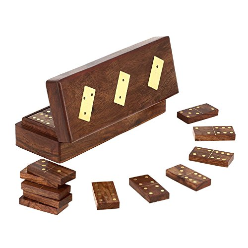 Set Dominoes Wood - SKAVIJ Wooden Double 6 Domino Set 28 Tiles with Storage Box Tile Game (8