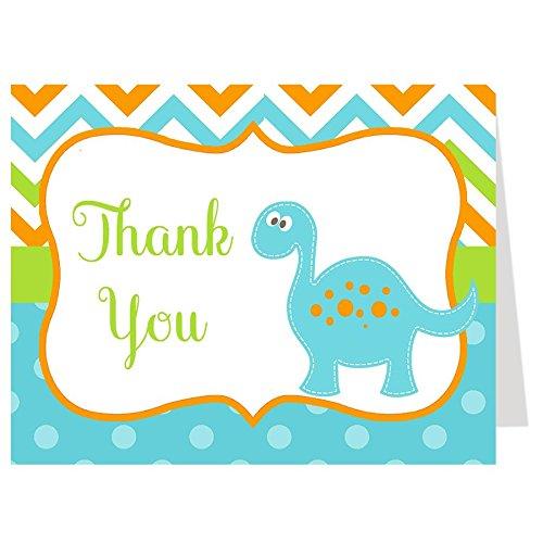 Dinosaur Thank You Cards, Boy, T-Rex, Chevron Stripes, Baby Shower, Sprinkle, Kids, Birthday, Blue, Aqua, Orange, Lime Green, Dino, 50 Folding Notes with Envelopes, Dino Baby Green Stripe Note