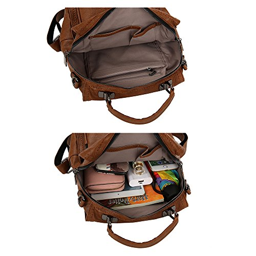 Rucksack Brown Leather Women Backpack Black Purse Shoulder Bag Handbag Ladies Mynos TAYz4