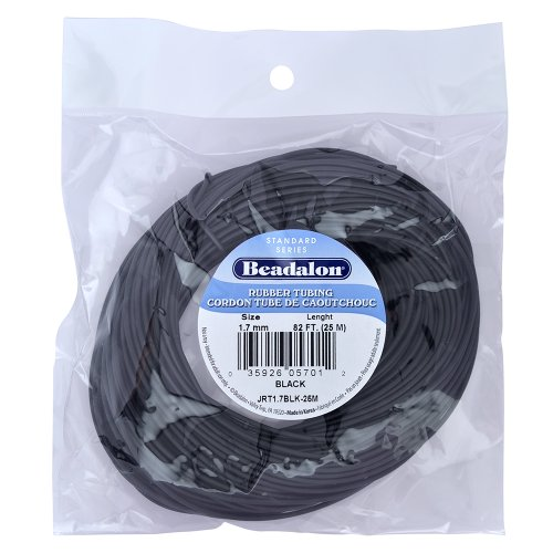 Beadalon JRT1.7BLK-25M Rubber Tubing 1.7mm Black, 25-Meter