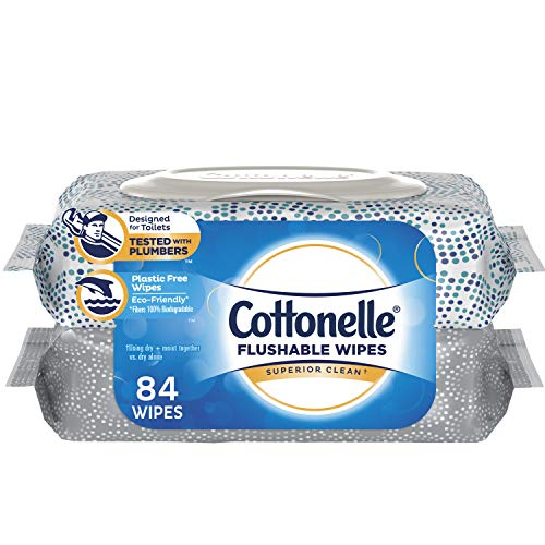Cottonelle FreshCare Flushable Wipes, 2 Pack, 42 Wet Wipes per Pack