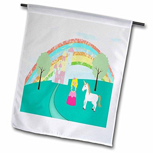 3dRose Princess & Unicorn, Castle Trees, Rainbow - Garden Flag, 12 by 18