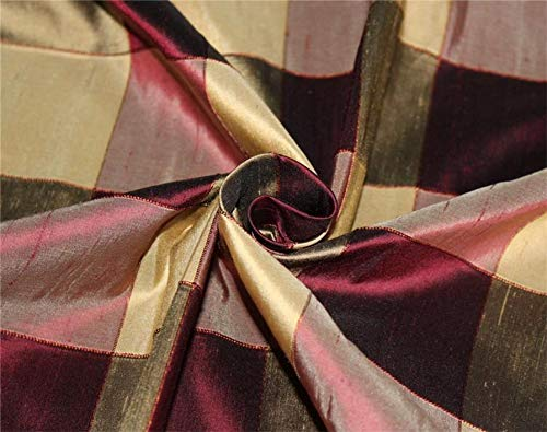 Puresilks Silk Dupioni Fabric Ribbed Plaids Shades of Wine and Gold Color 54'' Wide DUP#C102[2]