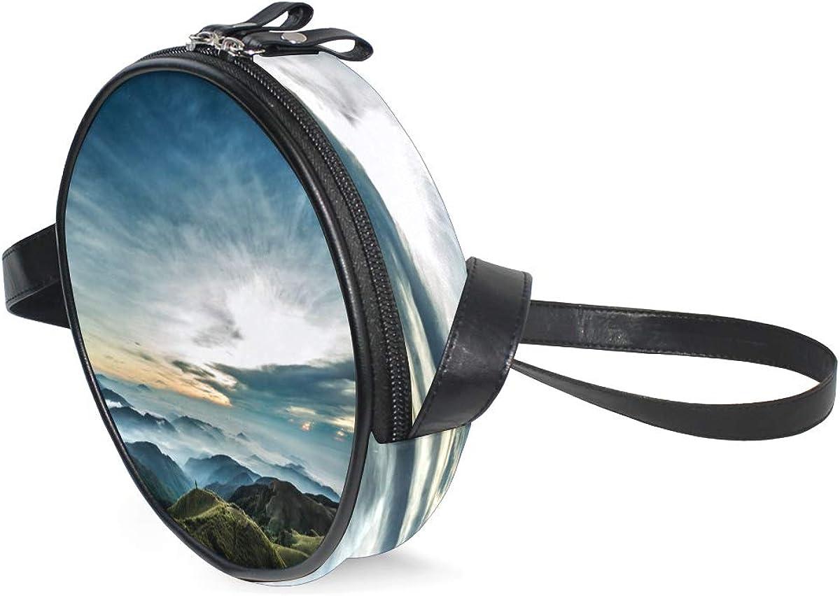 KEAKIA Lanscape Round Crossbody Bag Shoulder Sling Bag Handbag Purse Satchel Shoulder Bag for Kids Women