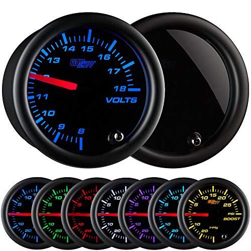 - GlowShift Tinted 7 Color Volt Voltmeter Gauge - Voltage Range 8 - 18 Volts - Black Dial - Smoked Lens - 2-1/16