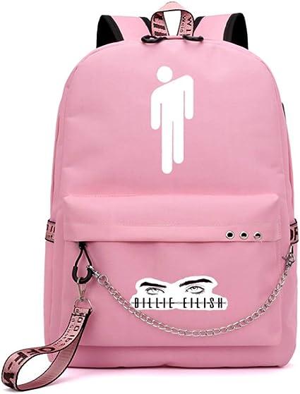 Rosa Rucksack Tasche Studententasche Billie Eilish Logo USB Lade M/ädchen Freizeittasche Reisen Wandern Daypack Rucksack