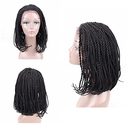 HAIR WAY Lace Front Braided Wigs Bob Style for Black Women Glueless Senegalese Twist Braided Lace Bob Wigs with Baby Hair for Daily Wear Half Hand Tied 16inches (Braided Hair Wigs)
