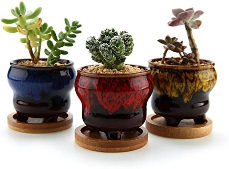 T4U 2.5 Inch Ceramic Fambe Tripod Succulent Cactus Planter Pot with Bamboo Tray Set of 3, Home and Office Decoration Desktop Windowsill Bonsai Pots Gift for Wedding Birthday Christmas