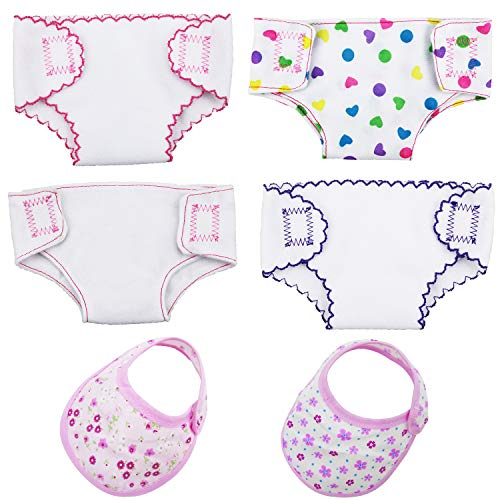 Grosun 4 Pack Diapers Doll Diapers Doll Underwear Set and 2