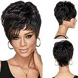 Meisi Hair Peluca de pelo corto para mujer, sintética, muy realista, color negro