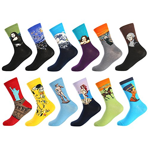 Bonangel Men's Fun Dress Socks-Colorful Funny Novelty Crew Socks Pack,Art Socks from BONANGEL