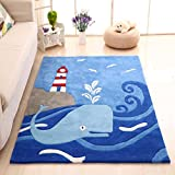 MAXYOYO Boys and Girls Cartoon Carpet Thicken Blue Ocean Whale Pattern Kids Bedroom Soft Carpet Children's Rugs 55 by 78 Inch