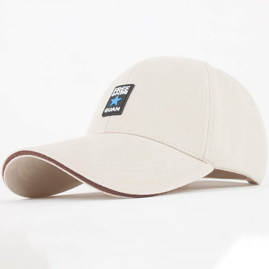 Rice white CQ Men's Hat Summer Baseball Cap Outdoor Winter Winter Winter Sports Duck Tongue Hat Male Spring Autumn Tide Casual Sun Hat (color   Rice White) 6d7ec2