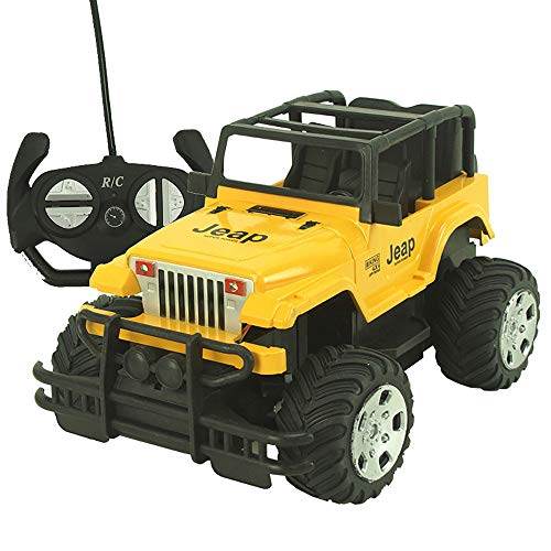 Hisoul RC Buggy Cars 1/12 Four-Channel Control Remote Operation Big Wheel Jeep Off-Road Drift Speed Remote Control Car with Flashing Lights for Kids and Adults (Yellow)