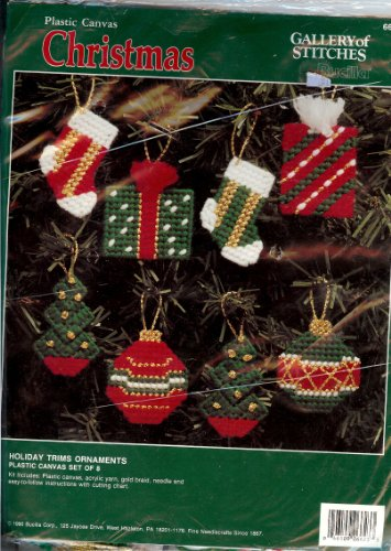 (Bucilla Gallery of Stitches Holiday Trims Ornaments Plastic Canvas Set of 8)