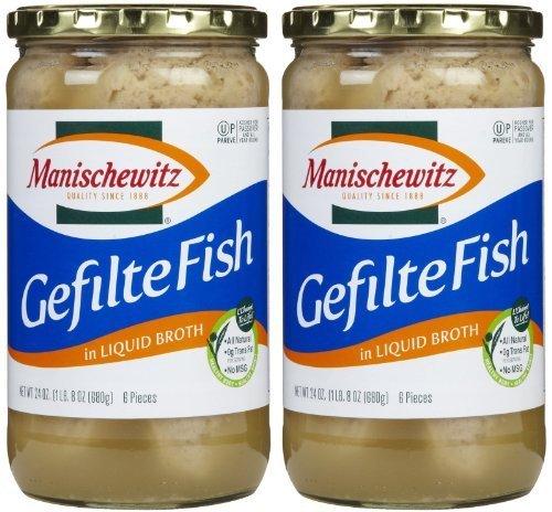 Manischewitz Gefilte Fish in Liquid Broth (Kosher For Passover), 24 oz, 2 pk by Manischewitz ()