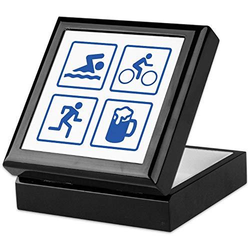 CafePress Swim Bike Run Drink Keepsake Box, Finished Hardwood Jewelry Box, Velvet Lined Memento Box