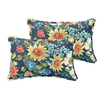 Mozaic Company AMPS115744 Indoor Outdoor Lumbar Pillows, Set of 2, 12 x 18, Navy Blue & Multicolor Floral : Garden & Outdoor