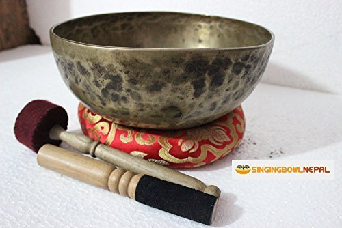 Sacral Chakra D Note Auntic Hand Hammered Tibetan Meditation Singing Bowl 9.5 Inches - Yoga Old Bowl By Singing Nepal by Singing Bowl Nepal