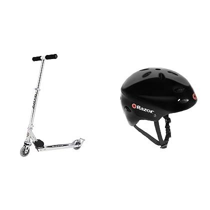 Razor A2 Kick Scooter, Clear w/ Black Helmet