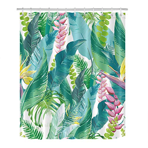 Palm Desert Shower Curtain - LB Desert Plant Cactus Decoration Shower Curtain Polyester Fabric 3D 72x72 Durable Waterproof Blue Green Tropic Banana Palm Leaves Pink Flowers Bathroom Bath Curtains