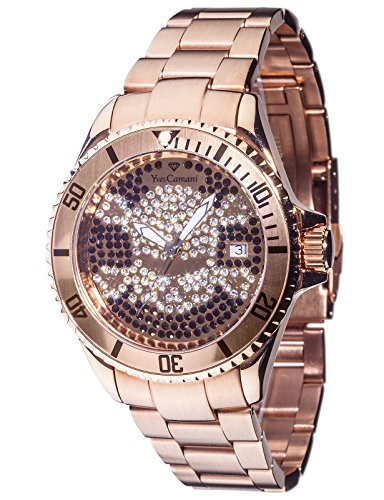 Yves Camani Anwen Skull Ladies Watch Rosegold Stainless Steel Date YC1065-M