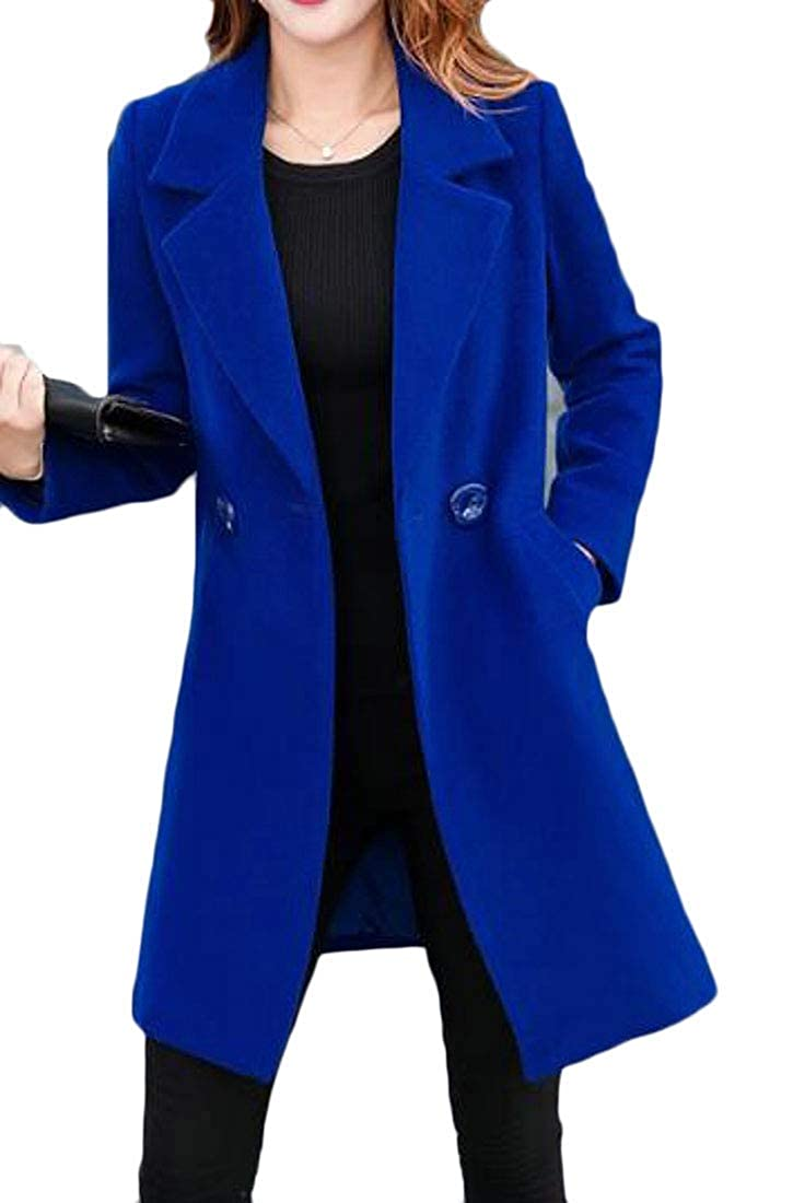 bluee BU2H Women Suit DoubleBreasted Plus Size Pure color Mid Length Pea Coat