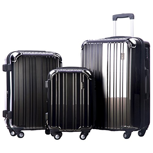 Merax Dreamy ABS+PC 3 Piece Expandable Luggage Set with TSA Lock (Grey) (Set Tsa Luggage Locks)