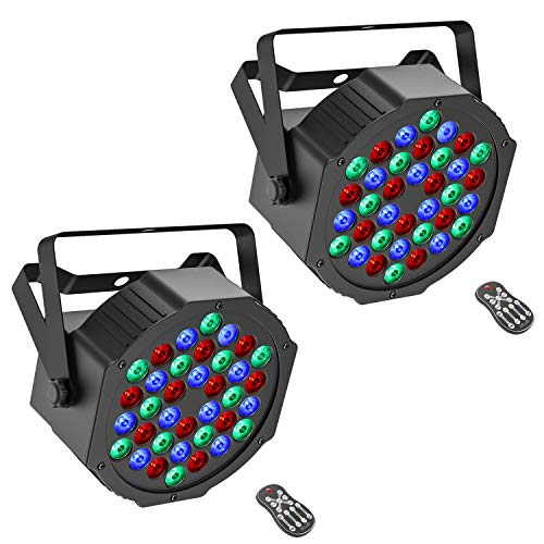 Donner 36 LEDs DJ Par Lights, Stage RGB Strobe Uplights with Remote Control & DMX Control, for Dancing/Wedding/Church/Birthday Gift/Christmas Party/Music Live Show, 2 Packs