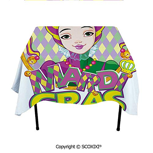 SCOXIXI Table Linens Tablecloth Washable Polyester Fabric,Carnival Girl in Harlequin Costume and Hat Cartoon Fat Tuesday Theme,W55XL55 Inches]()