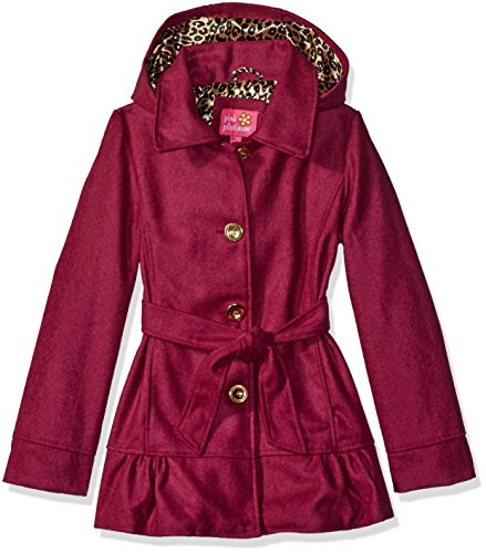 Pink Platinum Girls' Little Belted Ruffle Bottom Wool Jacket, Fuchsia, 4 ()