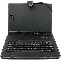 DURAGADGET Funda/Teclado ESPAÑOL Negro Para Tablets De 10 Pulgadas + Lápiz Stylus + ¡Gamuza Limpiadora! - Con Letra Ñ - Con Conexión MicroUSB- Función Atril