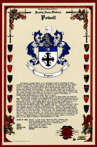 Powell Coat Of Arms (Powell Coat of Arms/Crest and Family Name History, meaning & origin plus Genealogy/Family Tree Research aid to help find clues to ancestry, roots, namesakes and ancestors plus many other surnames at the Historical Research Center Store)