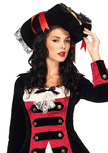 Leg Avenue Women's Swashbuckler Hat, Black/Red, One Size -