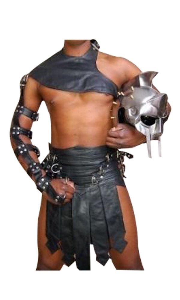 Olly And Ally Real Black Leather Heavy duty Mens Roman Gladiator Kilt Set Larp - (K3-Blk) W36''