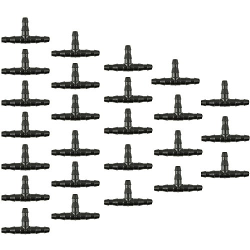 UCLEVER 100PCs Barbed Tee Connectors for 4mm/7mm Water Tube Drip Irrigation Watering System