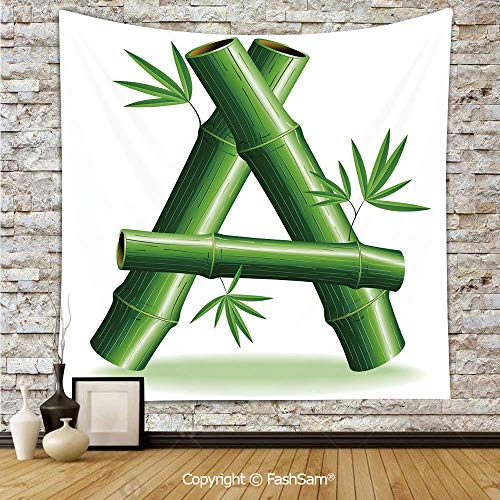 Whimsical Letters Wall Style - FashSam Polyester Tapestry Wall Green Bamboo Style Font First Letter of The Alphabet Nature Inspired Illustration Hanging Printed Home Decor(W39xL59)