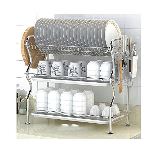 (NEX 3-Tier Stainless Steel Drying Dish Rack, Kitchen Drawer Organizer with 2 Drain Trays, Dish Organizer for Cabinets Chrome Plated Silver)
