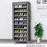 Keekos Collapsible Wardrobe Organizer, Storage Rack for Kids and Women, Clothes Cabinet, Shoe Rack, Bedroom Organiser with 9 Layer_Grey