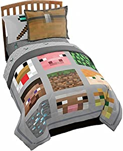 Jay Franco Minecraft Full/Queen Quilt & Sham 3 Piece Set