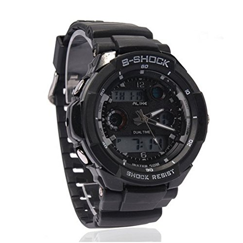Water-proof Digital-analog Boys Girls Sport Digital Watches with Alarm Chronograph Unisex - Black
