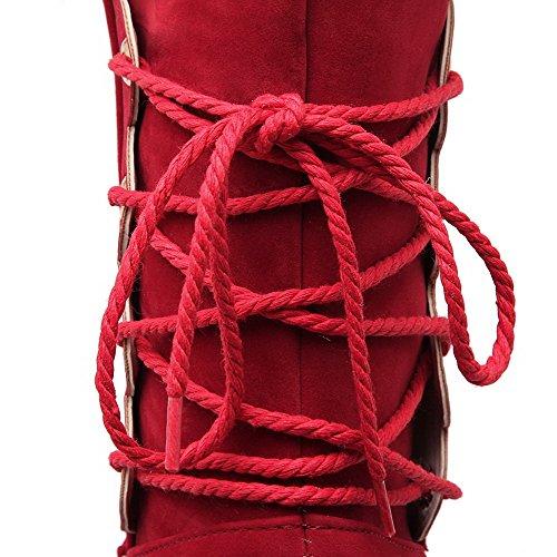 AllhqFashion Mujeres Gamuza(Imitado) Caña Baja Sólido Sin cordones Mini Tacón Botas Rojo